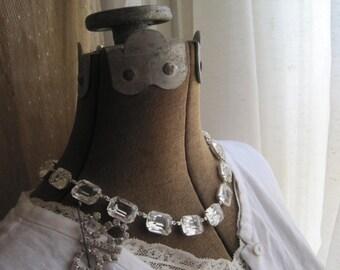 Anna Wintour necklace, collet necklace, statement necklaces, clear crystal necklace, georgian paste necklace, Jane Austen, collet.