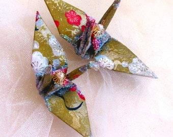 Gold Cherry Blossom Peace Crane Bird Wedding Cake Topper Party Favor Origami Christmas Ornament Sakura Lokta Paper Japanese