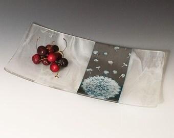 Dandelion Fused Glass Serving Platter, Dandelion, Nature, Silver and Blue, Platter