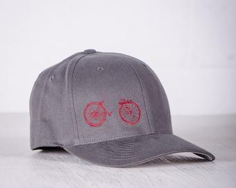BIKE WRECK! Vital Bicycle Flexfit Fitted Cap Raspberry on Grey S/M- 004