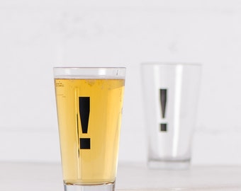 Exclamation Point Punctuation - typography pint glass black