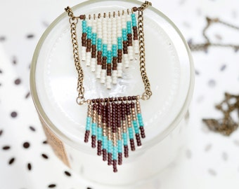 turquoise seed bead chevron necklace