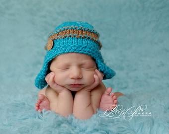 Newborn photo prop, baby boy aviator hat, earflap beanie with button, hand knit aqua blue brown chunky textured lumberjack baby hat