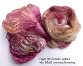 Mawata Silk Hankies Scarf Kit with 50/50-  BFL - Polwarth - or - Merino/Tussah Silk Roving
