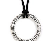 Meander Greek Key Necklace - Sterling Silver Large Pendant with Choker