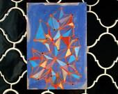 Original Blue and Orange Gouache Painting on Antique Book Paper - Medina