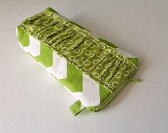 Lime green Chevron ruffle. Sunglasses Eyeglass case. Padded zipper pouch for sunnies. Green ovals