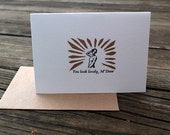 letterpress and handprinted card You look lovely