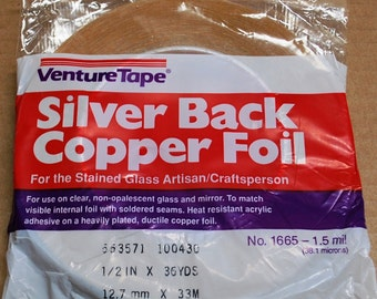 36 yard roll of 1/2 Inch Super Wide SILVER BACK Copper Foil Adhesive Silver Backed TAPE for Collage Pendant Jewelry Solder Art
