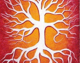 TREE, Tree of life, White tree, Original fine art, Acrylic painting by Jordanka Yaretz, UNICEF Artist