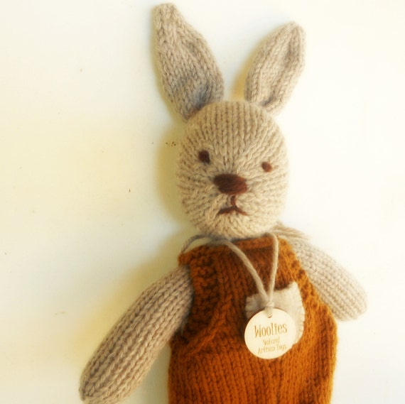 Natural Stuffed Animal Toy, Bunny Rabbit, Beau, handKnit by Woolies, Ready to Ship