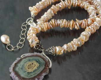 Amethyst Stalactite Slice Pendant & Peach Keishi Pearl necklace