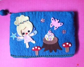 Cute Fairy tale Fairy Scene Wet Felted Pouch Handmade Butterfly Mushroom