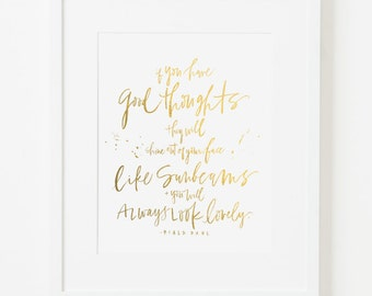 framed 8x10 print / roald dahl quote / digitally printed faux gold foil / choice of black, white, natural or gold frame