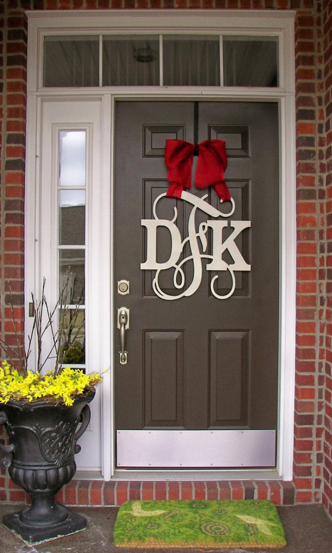 Custom monogram door hanger burlap bow neutral colors block What to hang on front door for decor