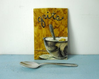 Grits, bowl of grits, southern comfort food, breakfast, spoon, kitchen art, Original Fabric on Wood art