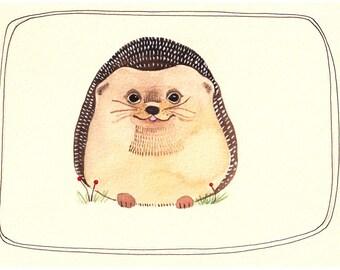 Art Print - Wall Art Print - Print of Illustration - Hedgehog Print - Hedgehog Print - 5x7 Art Print - The Happiest Hedgehog