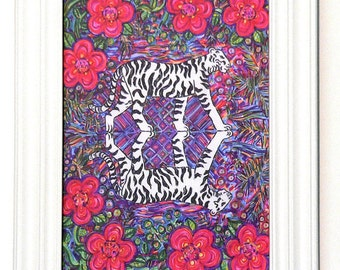 Greeting Card, Tiger, Jungle, India, Flower, Jewel, Grace, Cat, Wholesale, Eco friendly, Nature, Shaman, Spirit, Mystical, Endangered, Color
