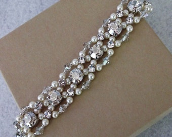 Silver Shade Chaton Rhinestone Bracelet, Cream Swarovski Pearls and Large Rhinestone Wedding Bracelet