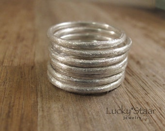 Silver Stack Rings, Brushed Finish 7 (Seven) Stacking Ring Set, Sterling Silver Jewelry, Minimalist