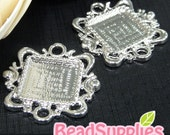 CH-CS-09010-  Nickel free ,Silver plated, Art nouveau square cameo setting connector, 4 pcs (for 15mmx15mm cabochon)