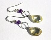 Lemon Quartz Drop Earrings, Sterling Silver Yellow Teardrops, Purple Jade Earrings