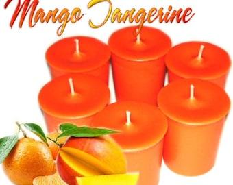 6 Mango Tangerine Votive Candles Tropical Fruit Scent