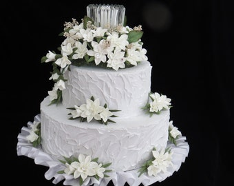White Cold Porcelain Floral Wedding Cake Topper