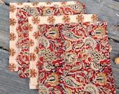 "Cloth napkins, Eco-friendly tableware, 14"" handmade cloth napkins, serviette, indian print all cotton  set of four"