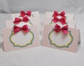 Ribbons and Bows Food Cards- Set of 6- Girl 1st Birthday