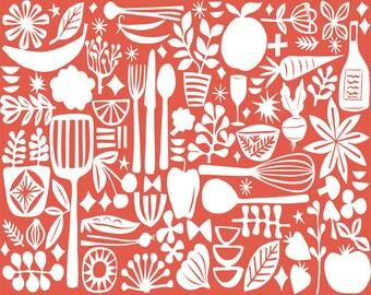 mod kitchen archival print - five color choices