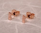 5mm x 2mm 18k Rose Gold Bar Studs Small 18k Pink Gold Earrings by SARANTOS