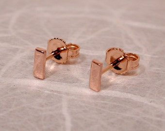 5mm x 2mm Solid 18k Rose Gold Bar Studs Small 18k Pink Gold Earrings by SARANTOS