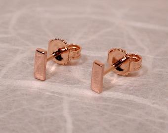 Susan Sarantos 18k Rose Gold Bar Stud Earrings 5mm