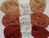 Seam Binding - Crinkled - 18 Yards - AUTUMN MOOD - New Set - Fall colors - Rust Ribbon - Dark Rust Ribbon - Tan Ribbon