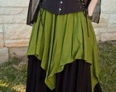 Mossy Green Linen Pixie Skirt - Renaissance Clothing - Halloween Costume - Ren Faire Garb - Gypsy Witch Costume - Forest Fairy - SCA LARP