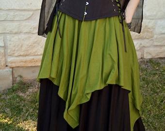 Mossy Green Linen Pixie Skirt Renaissance Halloween Costume