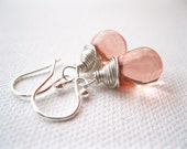 Blush Sterling Silver Earrings. Pink Teardrop Earrings. Wire Wrapped Briolette Earrings. Blush Pink Wedding Bridesmaid Jewellery. UK Seller
