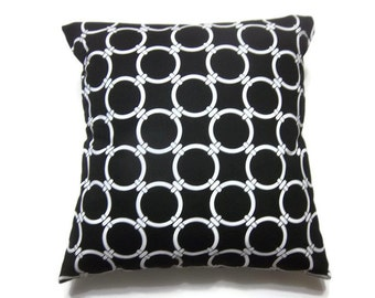Decorative Pillow Cover Black White Damask Design Circles same Fabric Front and Back Throw Toss Accent 18x18 inch x