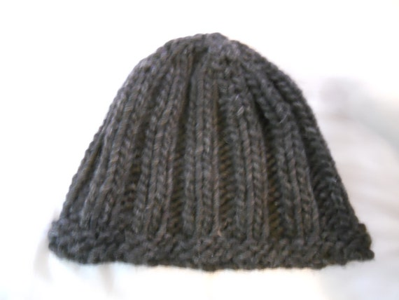 Wool Hat Hand Knit Kid to Adult Rib Knit Charcoal Grey
