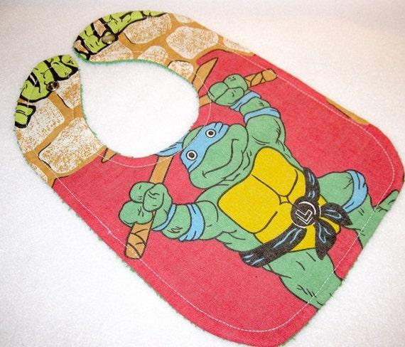 teenage mutant ninja turtles baby bib themed one size fits all retro