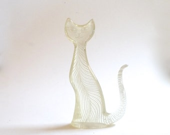 Palatnik Op Art Lucite Cat Modernist Large Clear White