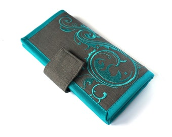 MADE TO ORDER - Womens wallet large- Teal and gray linen wallet - Handmade fabric wallet - Modern wallet - Teal Flourish wallet