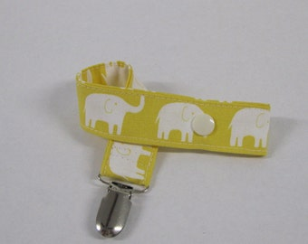 Pacifier - Toy -  Clip - Owls - Cream Elephants on Yellow