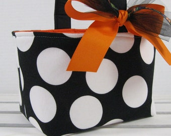 Halloween Trick or Treat Candy Basket Bucket - Goodie Bag - Black with Jumbo Large White Dots Fabric - Personalized Name Tag Available