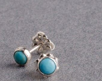 Turquoise Silver Dot Stud Earrings