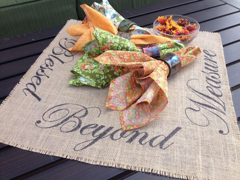 Blessed beyond measure burlap centerpiece mat