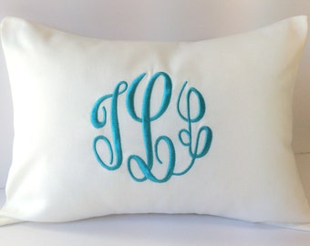 Custom Monogrammed Pillow Cover 12 x 16. Farmhouse Decor. Decorative Throw Pillow. Cottage Chic Decor. Home & Living. Monogram Pillowcase