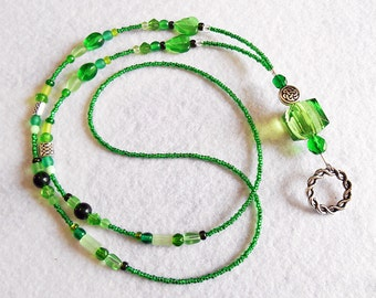 Morgana - beaded badge lanyard - green and silver glass beaded ID badge lanyard necklace for teacher nurse gift