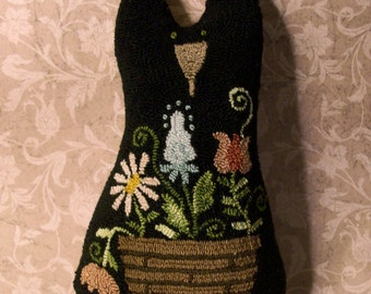 Primitive Needle Punch Pillow Doll Black Cat And Basket Of Flowers